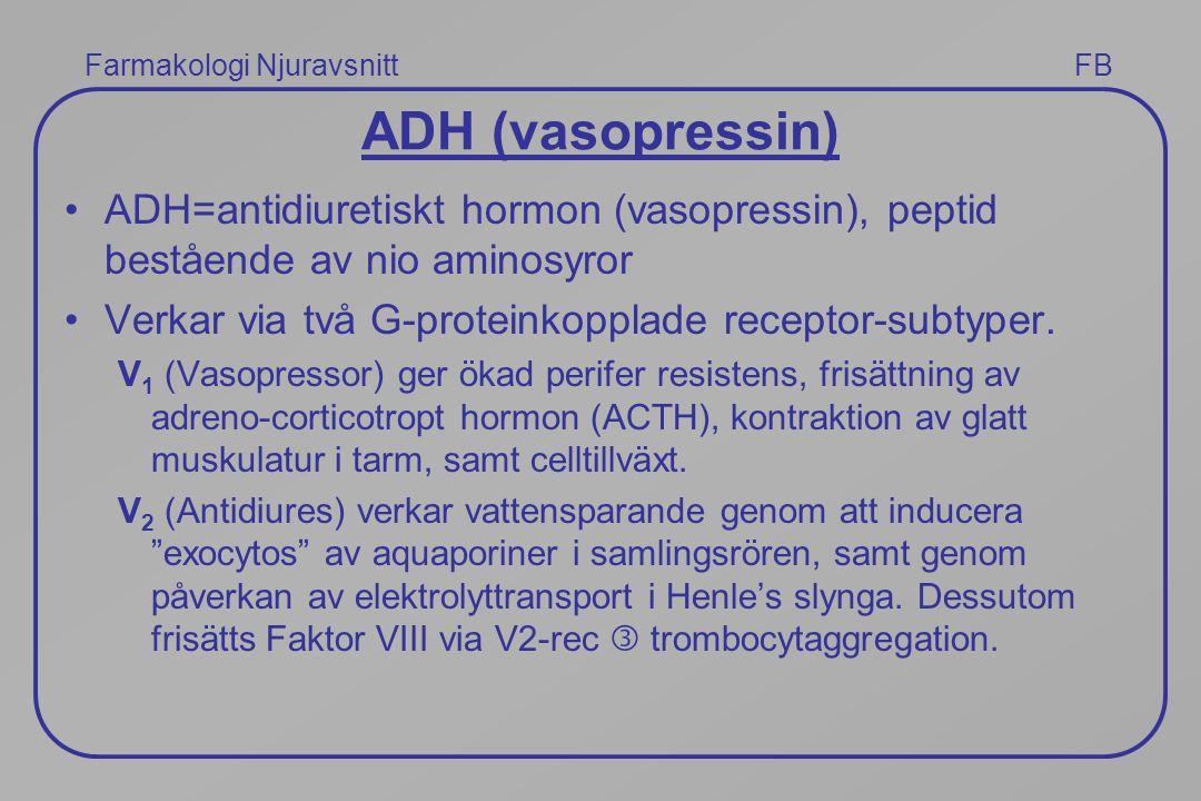 Farmakologi Njuravsnitt FB ADH (vasopressin) ADH=antidiuretiskt hormon (vasopressin), peptid bestående av nio aminosyror Verkar via två G-proteinkoppl