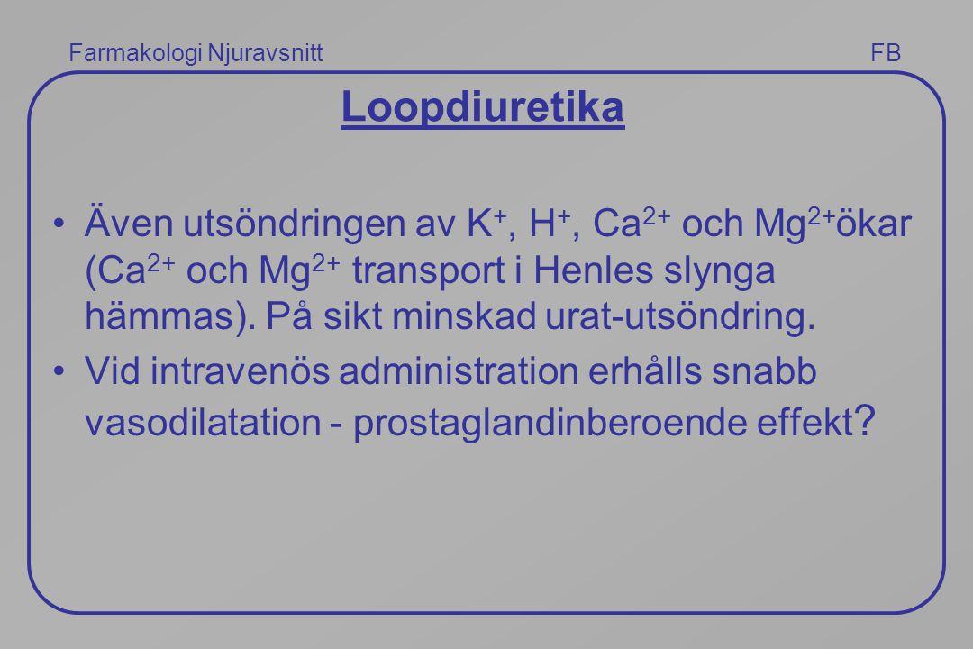 Farmakologi Njuravsnitt FB Loopdiuretika Även utsöndringen av K +, H +, Ca 2+ och Mg 2+ ökar (Ca 2+ och Mg 2+ transport i Henles slynga hämmas). På si