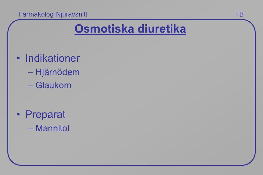 Farmakologi Njuravsnitt FB Osmotiska diuretika Indikationer –Hjärnödem –Glaukom Preparat –Mannitol