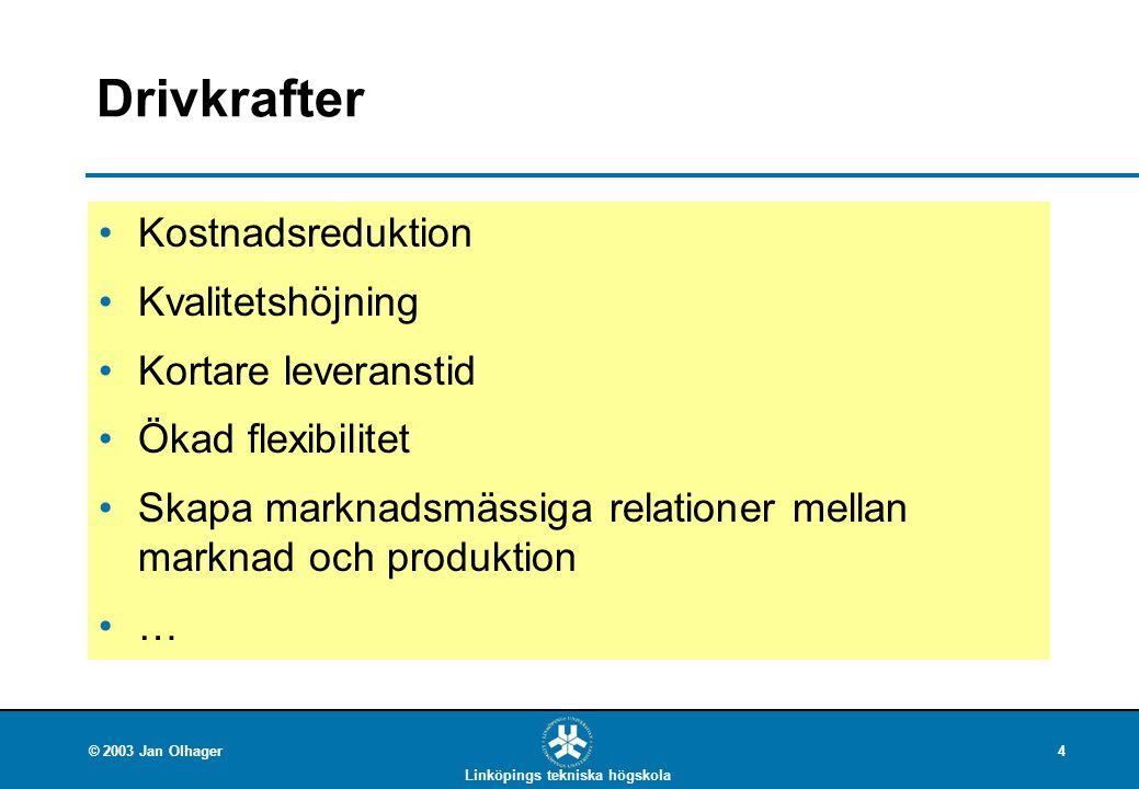 Linköpings tekniska högskola © 2003 Jan Olhager4 Drivkrafter Kostnadsreduktion Kvalitetshöjning Kortare leveranstid Ökad flexibilitet Skapa marknadsmä