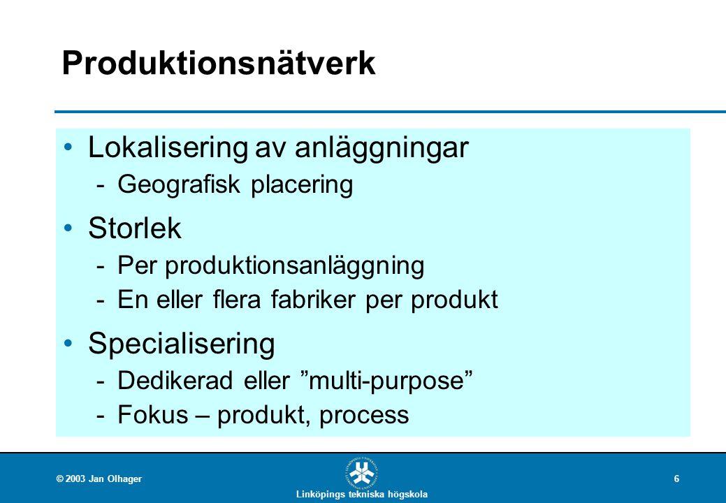 Linköpings tekniska högskola © 2003 Jan Olhager6 Produktionsnätverk Lokalisering av anläggningar Geografisk placering Storlek Per produktionsanläggn