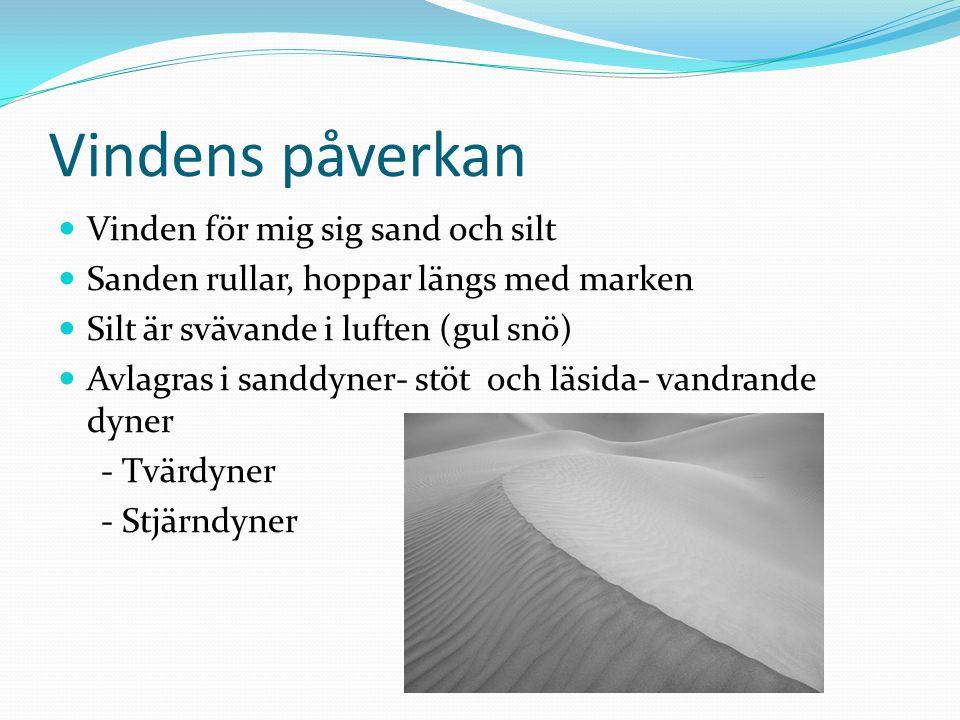 Vindens påverkan Vinden för mig sig sand och silt Sanden rullar, hoppar längs med marken Silt är svävande i luften (gul snö) Avlagras i sanddyner- stö