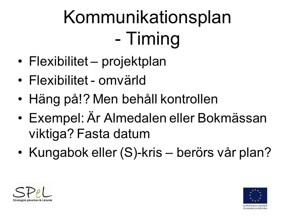 Kommunikationsplan - Timing Flexibilitet – projektplan Flexibilitet - omvärld Häng på!.