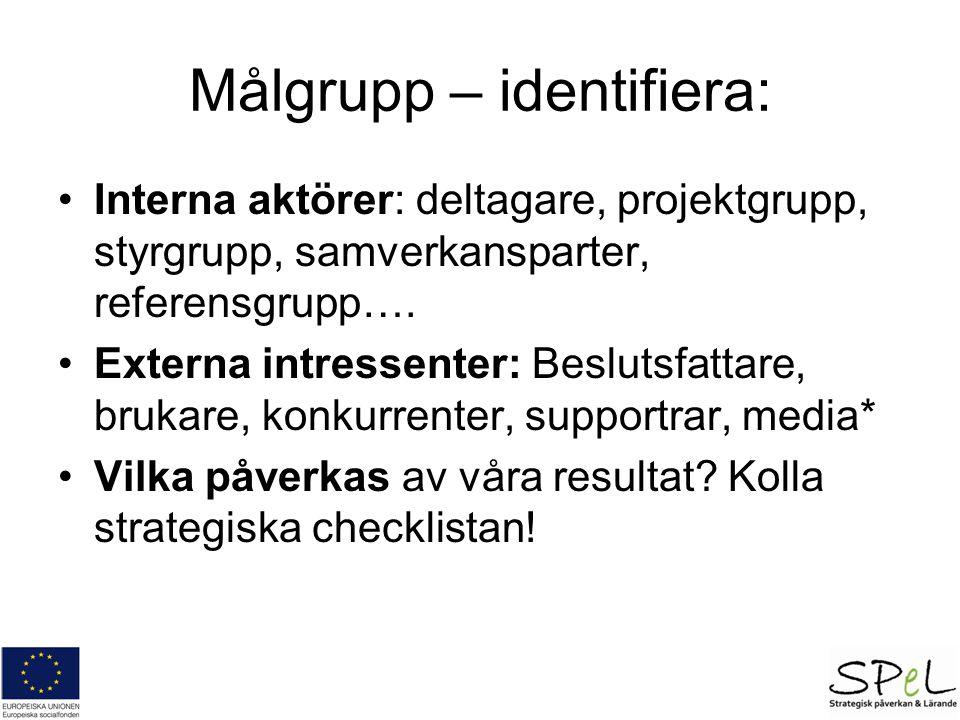 Målgrupp – identifiera: Interna aktörer: deltagare, projektgrupp, styrgrupp, samverkansparter, referensgrupp….