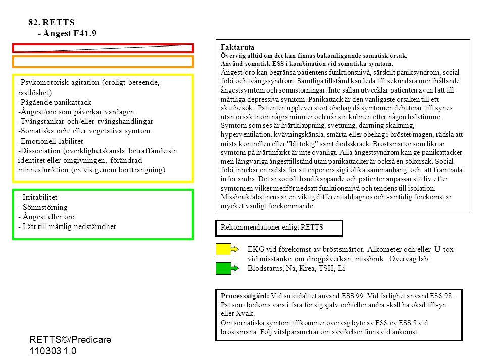 -Psykomotorisk agitation (oroligt beteende, rastlöshet) -Pågående panikattack -Ångest/oro som påverkar vardagen -Tvångstankar och/eller tvångshandlingar -Somatiska och/ eller vegetativa symtom -Emotionell labilitet -Dissociation (overklighetskänsla beträffande sin identitet eller omgivningen, förändrad minnesfunktion (ex vis genom bortträngning) - Irritabilitet - Sömnstörning - Ångest eller oro - Lätt till måttlig nedstämdhet - Processåtgärd: Vid suicidalitet använd ESS 99.