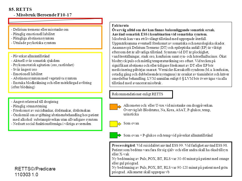 - Delirium tremens eller misstanke om - Påtaglig emotionell labilitet - Påtagliga abstinenssymtom - Uttalade psykotiska symtom - Påverkat allmäntillstånd - Aktuell svår somatisk sjukdom - Psykomotorisk agitation (oro, rastlöshet) - Svår ångest/oro - Emotionell labilitet - Abstinenssymtom med vegetativa symtom - Enstaka blodkräkning och/eller mörkfärgad avföring (efter blödning) - Ångest relaterad till drogintag - Påtaglig sömnstörning - Förekomst av suicidtankar, dödstankar, dödsönskan - Önskemål om avgiftning/abstinensbehandling hos patient med alkohol/ substanspåverkan utan allvarligare symtom - Nedsatt social funktionsförmåga i viktiga avseenden - Processåtgärd: Vid suicidalitet använd ESS 99.