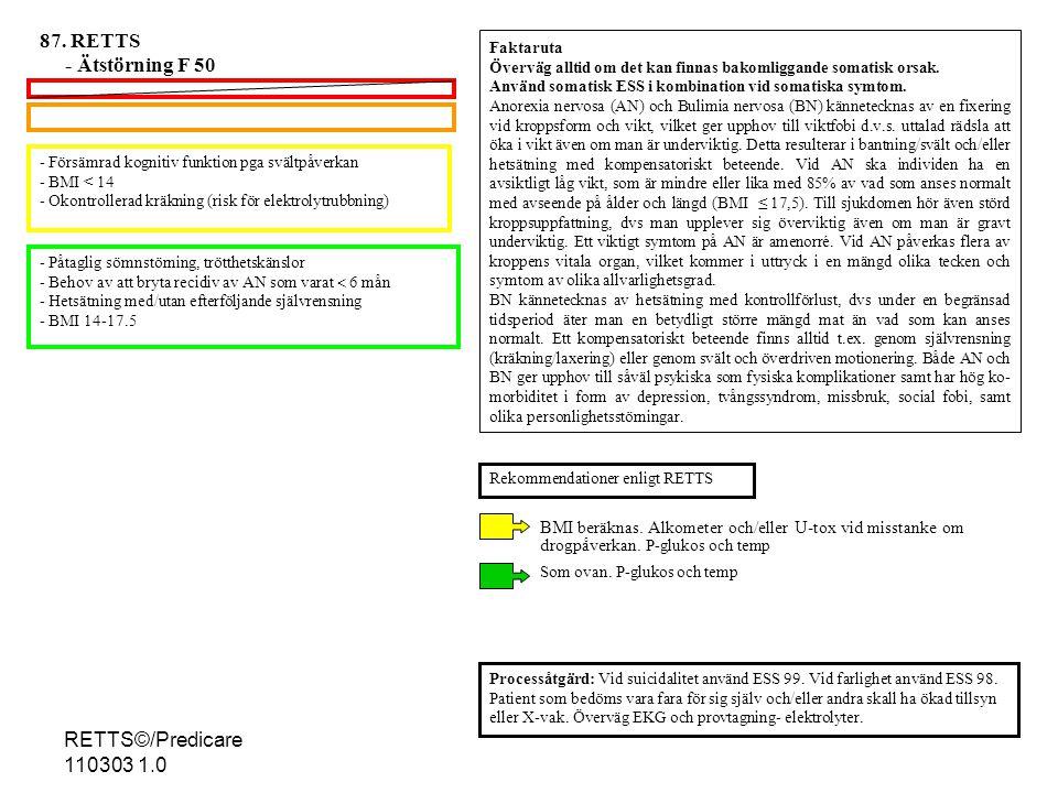 - Försämrad kognitiv funktion pga svältpåverkan - BMI < 14 - Okontrollerad kräkning (risk för elektrolytrubbning) - Påtaglig sömnstörning, trötthetskänslor - Behov av att bryta recidiv av AN som varat  6 mån - Hetsätning med/utan efterföljande självrensning - BMI 14-17.5 Processåtgärd: Vid suicidalitet använd ESS 99.