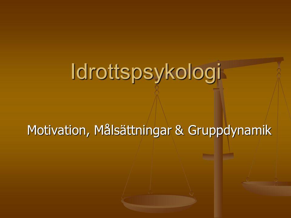 Idrottspsykologi Motivation, Målsättningar & Gruppdynamik