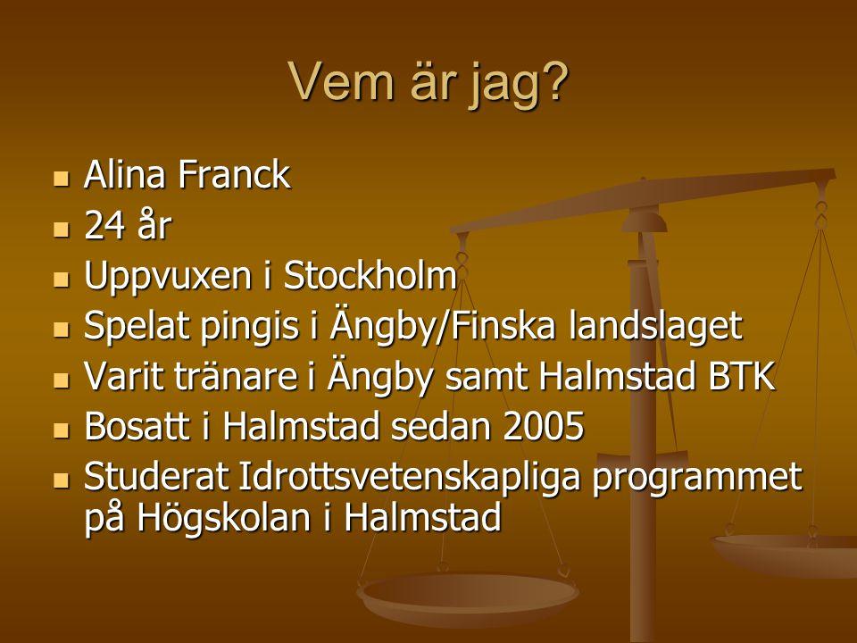 Vem är jag? Alina Franck Alina Franck 24 år 24 år Uppvuxen i Stockholm Uppvuxen i Stockholm Spelat pingis i Ängby/Finska landslaget Spelat pingis i Än
