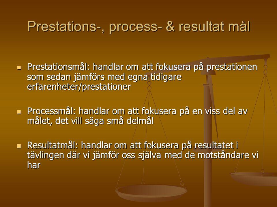 Prestations-, process- & resultat mål Prestationsmål: handlar om att fokusera på prestationen som sedan jämförs med egna tidigare erfarenheter/prestationer Prestationsmål: handlar om att fokusera på prestationen som sedan jämförs med egna tidigare erfarenheter/prestationer Processmål: handlar om att fokusera på en viss del av målet, det vill säga små delmål Processmål: handlar om att fokusera på en viss del av målet, det vill säga små delmål Resultatmål: handlar om att fokusera på resultatet i tävlingen där vi jämför oss själva med de motståndare vi har Resultatmål: handlar om att fokusera på resultatet i tävlingen där vi jämför oss själva med de motståndare vi har