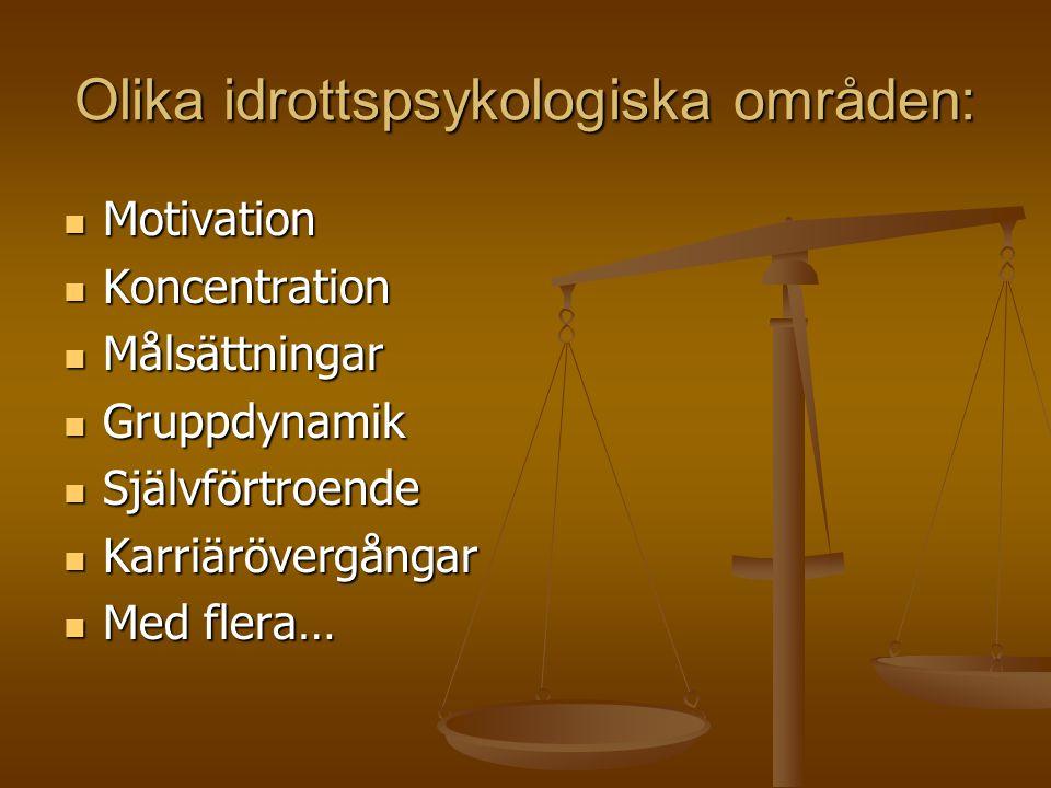 Olika idrottspsykologiska områden: Motivation Motivation Koncentration Koncentration Målsättningar Målsättningar Gruppdynamik Gruppdynamik Självförtroende Självförtroende Karriärövergångar Karriärövergångar Med flera… Med flera…