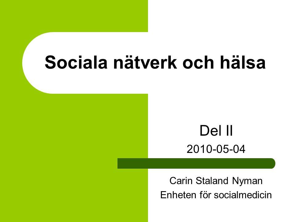 Resultat 'Högstressgrupp' + social isolering mental hälsa (β -18,6) vitalitet (β -14,6) emotionell rollfunktion (OR 4.03) (Ref-grupp – 'medelstress' + socialt integrerad) Konklusion: Sociala nätverk gynnsamt för hälsan och av särskild betydelse i situationer av hög stress Achat et al.