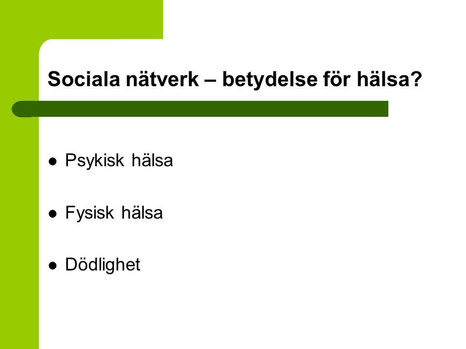 Sociala nätverk – betydelse för hälsa? Psykisk hälsa Fysisk hälsa Dödlighet