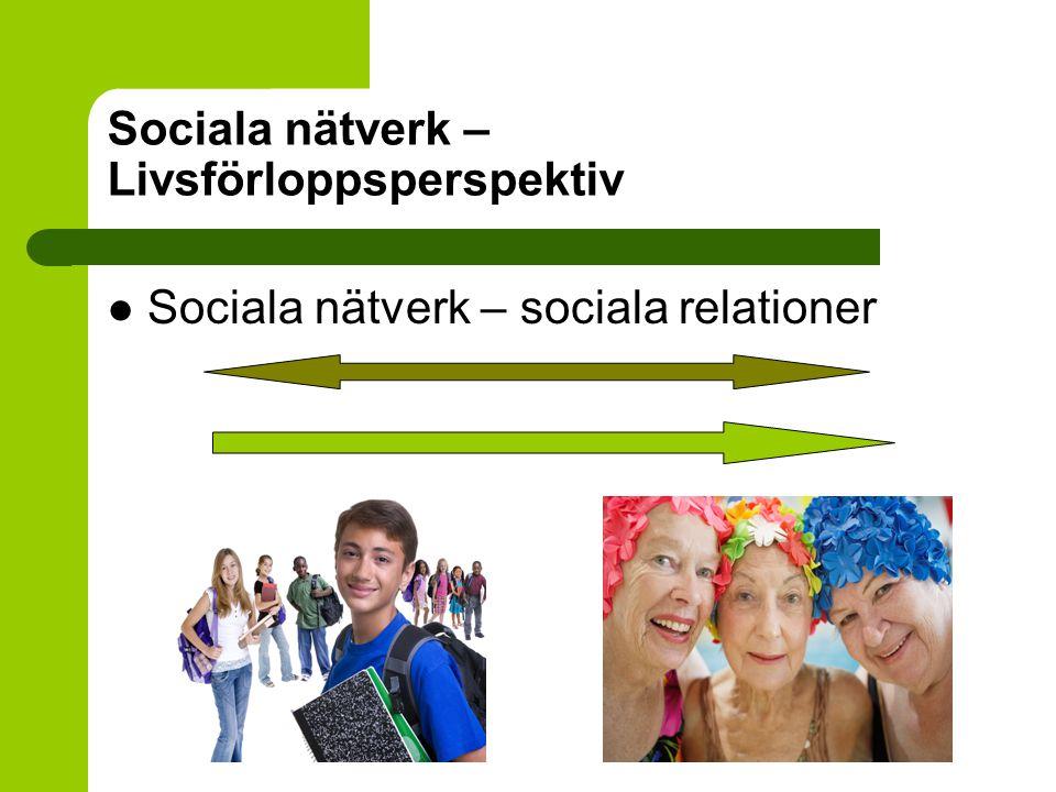 Sociala nätverk – kvinnor och män Män rapporterar ofta fler personer – kvantitativt större nätverk Kvinnor rapporterar ofta fler nära personer i sitt primära nätverk Fuhrer et al.
