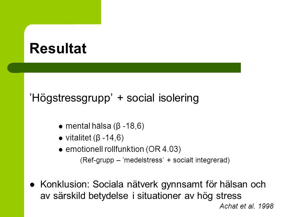 Resultat 'Högstressgrupp' + social isolering mental hälsa (β -18,6) vitalitet (β -14,6) emotionell rollfunktion (OR 4.03) (Ref-grupp – 'medelstress' +