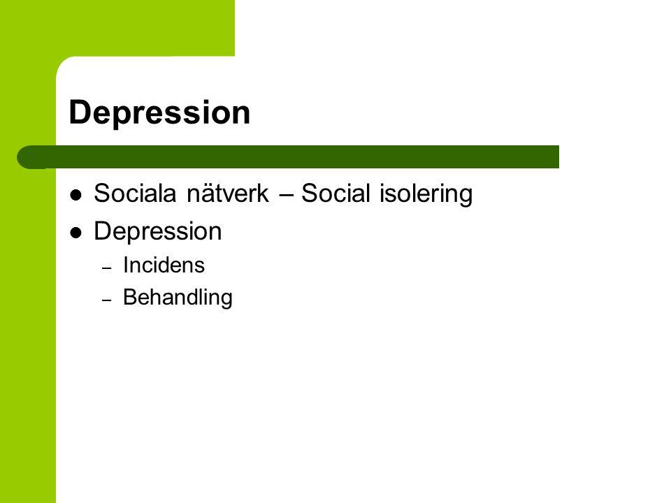 Depression Sociala nätverk – Social isolering Depression – Incidens – Behandling