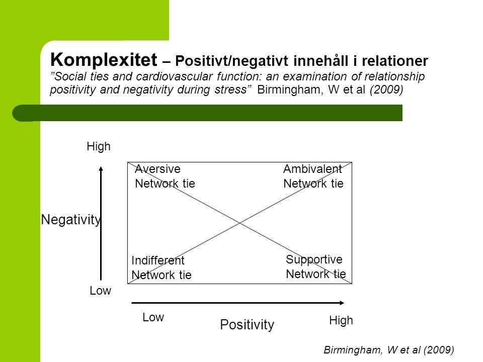 """Komplexitet – Positivt/negativt innehåll i relationer """"Social ties and cardiovascular function: an examination of relationship positivity and negativi"""