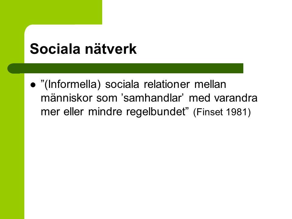 """Sociala nätverk """"(Informella) sociala relationer mellan människor som 'samhandlar' med varandra mer eller mindre regelbundet"""" (Finset 1981)"""
