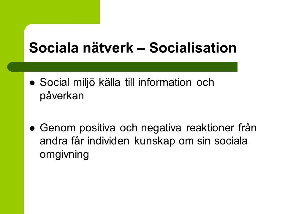 Sociala nätverk – Socialisation Social miljö källa till information och påverkan Genom positiva och negativa reaktioner från andra får individen kunsk