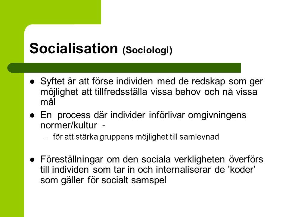Socialisation (Sociologi) Socialisation – sociala relationer/roller bidrar då vi formar vår uppfattning om oss själva 'Betydelsefulla' relationer ofta viktigare i denna process Socialisation – ett livslångt projekt