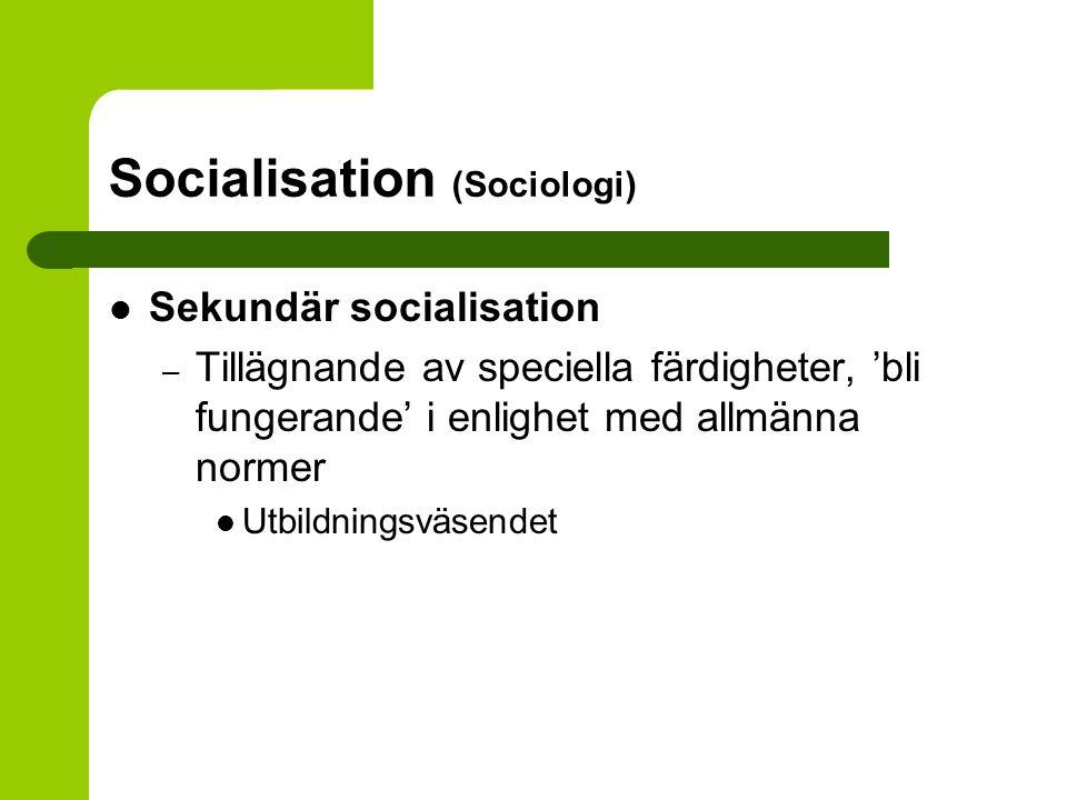 Socialisation (Sociologi) Sekundär socialisation – Tillägnande av speciella färdigheter, 'bli fungerande' i enlighet med allmänna normer Utbildningsvä