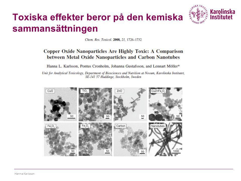 Toxiska effekter beror på den kemiska sammansättningen Hanna Karlsson