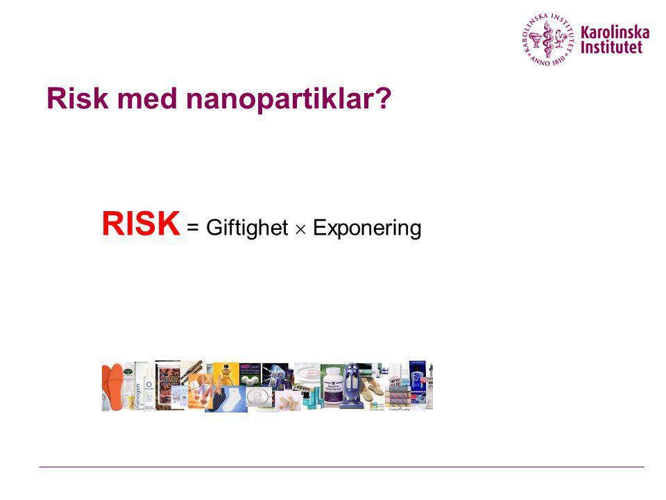 Risk med nanopartiklar? RISK = Giftighet  Exponering