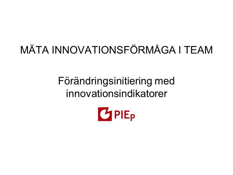 MÄTA INNOVATIONSFÖRMÅGA I TEAM Förändringsinitiering med innovationsindikatorer