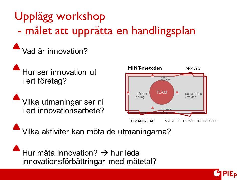 Upplägg workshop - målet att upprätta en handlingsplan Vad är innovation? Hur ser innovation ut i ert företag? Vilka utmaningar ser ni i ert innovatio
