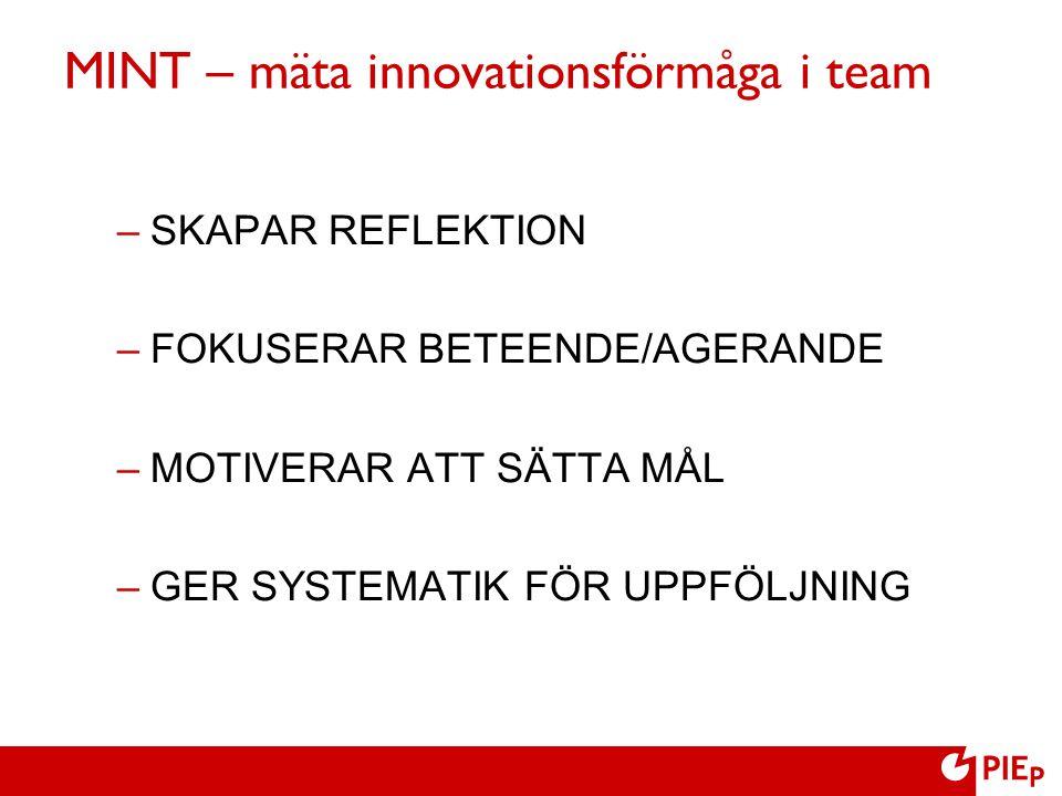 MINT – mäta innovationsförmåga i team –SKAPAR REFLEKTION –FOKUSERAR BETEENDE/AGERANDE –MOTIVERAR ATT SÄTTA MÅL –GER SYSTEMATIK FÖR UPPFÖLJNING