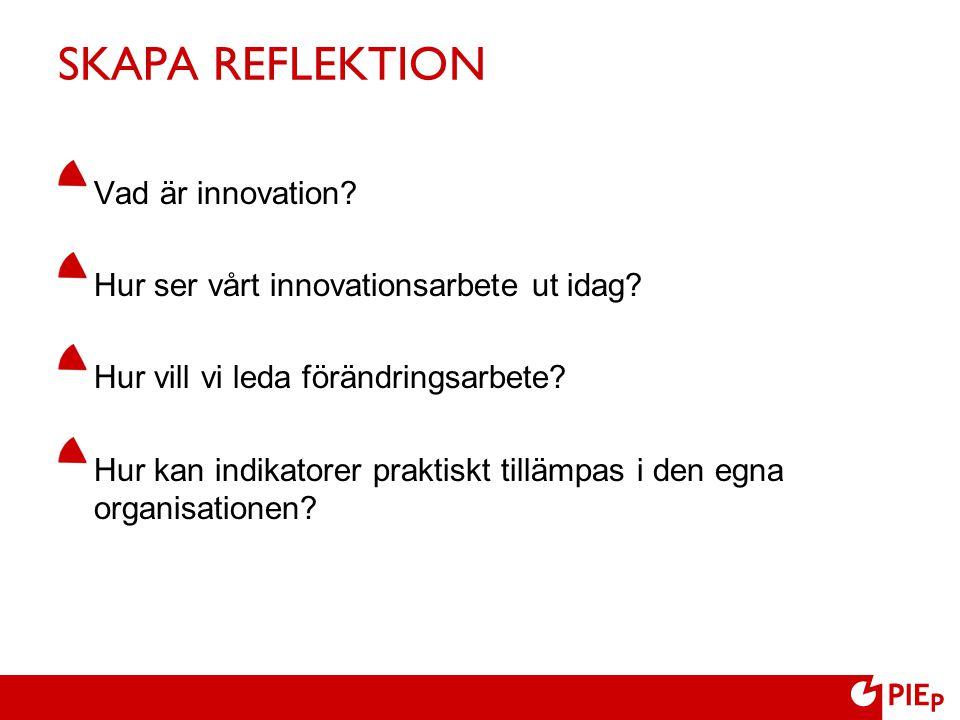 SKAPA REFLEKTION Vad är innovation? Hur ser vårt innovationsarbete ut idag? Hur vill vi leda förändringsarbete? Hur kan indikatorer praktiskt tillämpa