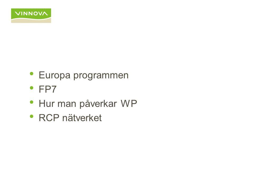 Europa programmen FP7 Hur man påverkar WP RCP nätverket