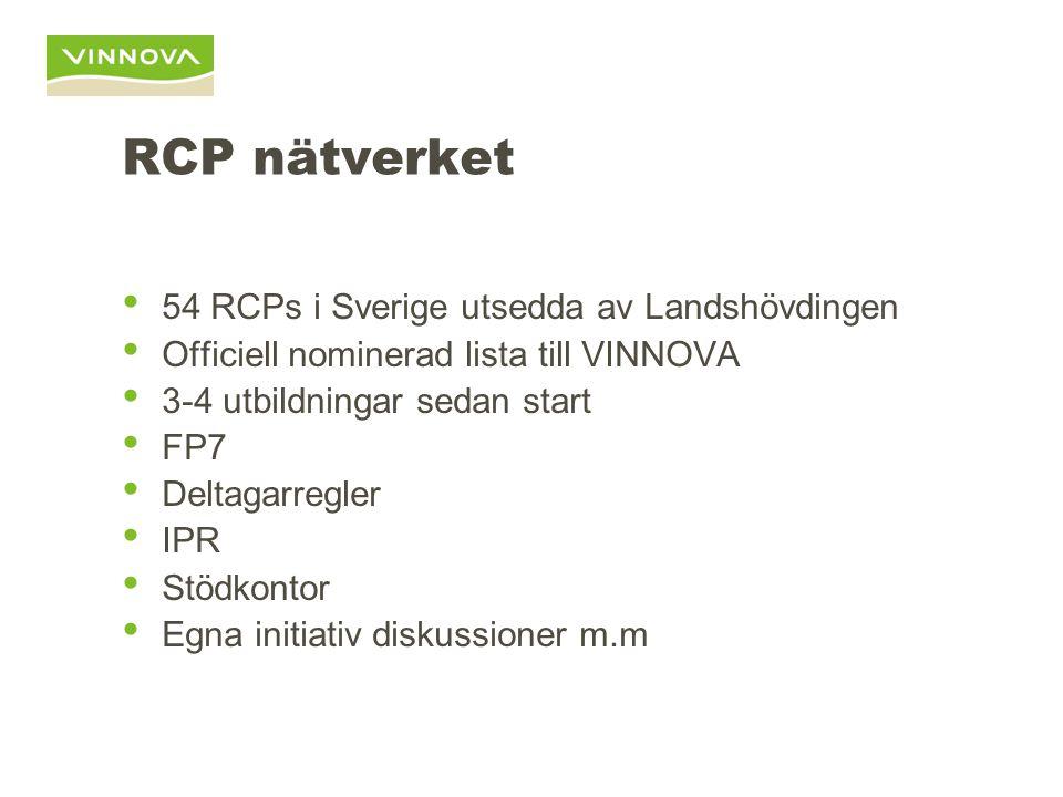 RCP nätverket 54 RCPs i Sverige utsedda av Landshövdingen Officiell nominerad lista till VINNOVA 3-4 utbildningar sedan start FP7 Deltagarregler IPR S