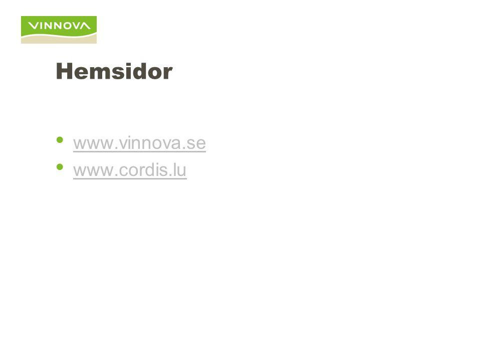 Hemsidor www.vinnova.se www.cordis.lu