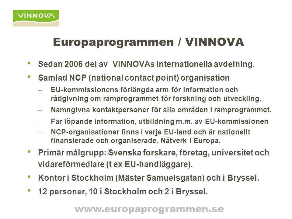 Europaprogrammen / VINNOVA Sedan 2006 del av VINNOVAs internationella avdelning. Samlad NCP (national contact point) organisation – EU-kommissionens f