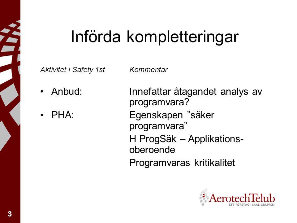 3 Införda kompletteringar Aktivitet i Safety 1stKommentar Anbud: Innefattar åtagandet analys av programvara.