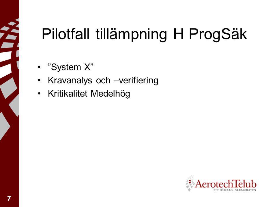 7 Pilotfall tillämpning H ProgSäk System X Kravanalys och –verifiering Kritikalitet Medelhög