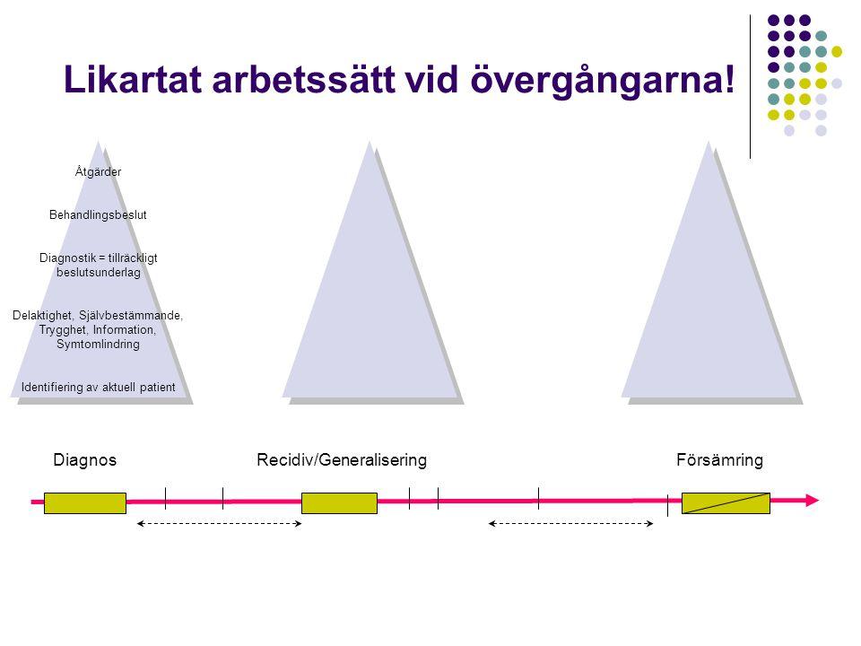 DiagnosRecidiv/GeneraliseringFörsämring Likartat arbetssätt vid övergångarna! Åtgärder Behandlingsbeslut Diagnostik = tillräckligt beslutsunderlag Del