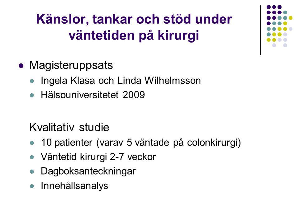 Känslor, tankar och stöd under väntetiden på kirurgi Magisteruppsats Ingela Klasa och Linda Wilhelmsson Hälsouniversitetet 2009 Kvalitativ studie 10 p