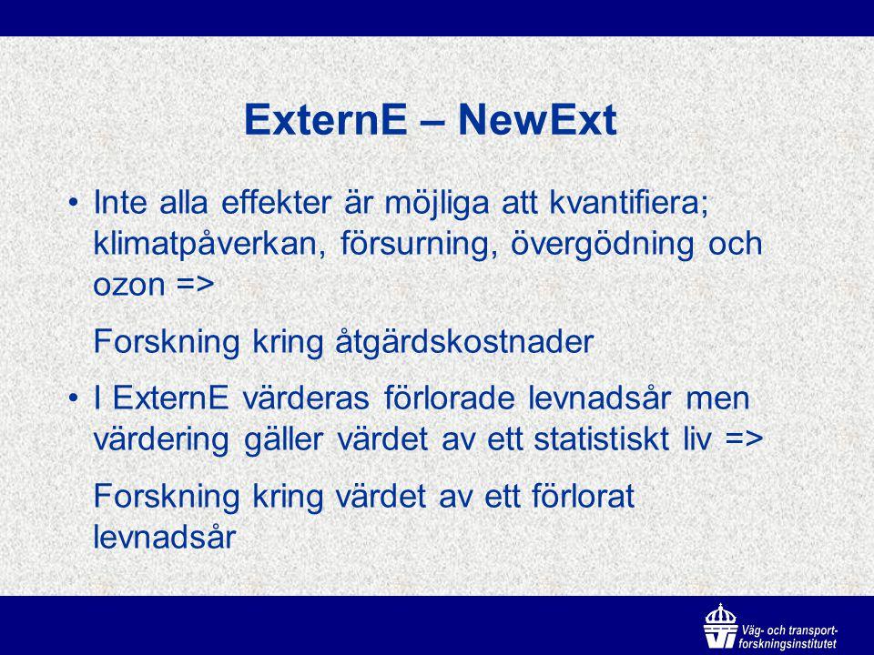 ExternE – NewExt Inte alla effekter är möjliga att kvantifiera; klimatpåverkan, försurning, övergödning och ozon => Forskning kring åtgärdskostnader I ExternE värderas förlorade levnadsår men värdering gäller värdet av ett statistiskt liv => Forskning kring värdet av ett förlorat levnadsår