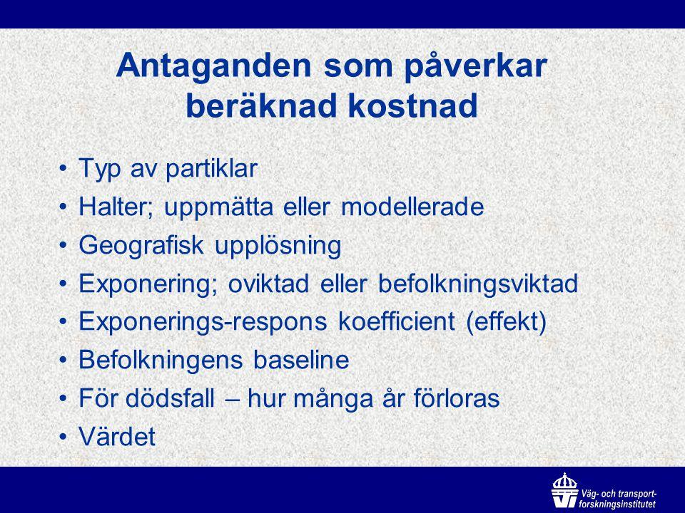 Kostnadsinformation och åtgärder Measure (förslag i åtgärds- program för PM10 i Stockholm) EffectAmount emissions exhaust/dust Variation (dust) StreetUrban back- ground Street cleaning 10-15%No/NoYes (seasonal) Yes (small) Studded tyres (50% reduction) 20-25%No/YesYes (seasonal) Yes (?) Low emission zones (old cars) 0-10%Yes/YesYes Congestion charging 5-10%Yes/YesYes