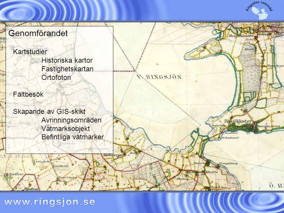 Kartstudier Historiska kartor Fastighetskartan Ortofoton Fältbesök Skapande av GIS-skikt Avrinningsområden Våtmarksobjekt Befintliga våtmarker Genomförandet