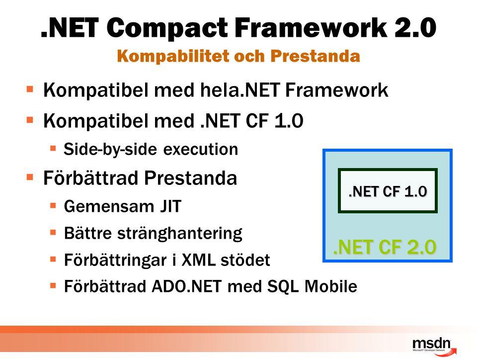 .NET Compact Framework 2.0 Kompabilitet och Prestanda  Kompatibel med hela.NET Framework  Kompatibel med.NET CF 1.0  Side-by-side execution  Förbättrad Prestanda  Gemensam JIT  Bättre stränghantering  Förbättringar i XML stödet  Förbättrad ADO.NET med SQL Mobile.NET CF 1.0.NET CF 2.0