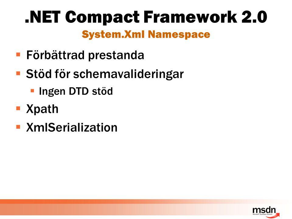 .NET Compact Framework 2.0 System.Xml Namespace  Förbättrad prestanda  Stöd för schemavalideringar  Ingen DTD stöd  Xpath  XmlSerialization