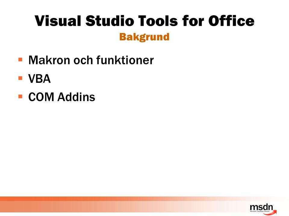Visual Studio Tools for Office Programmeringsmodellen tidigare  Användargränssnitt och data var sammanblandade  Utveckling för Office respektive Windows Forms upplevdes väldigt olika  Servergenerering av Office dokument understöddes inte
