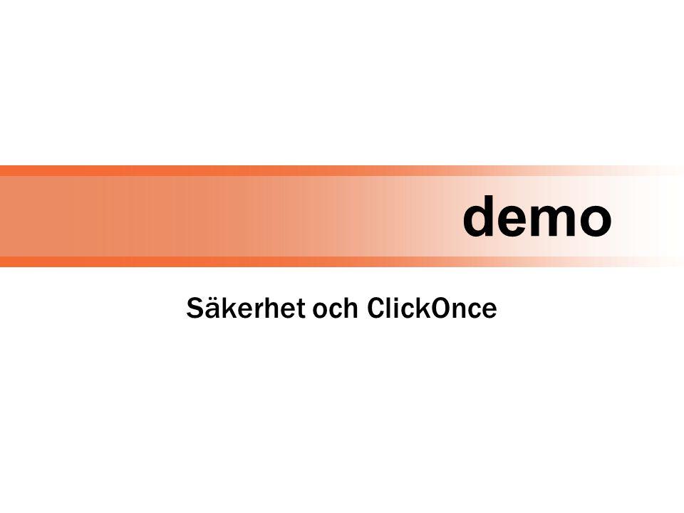 demo Säkerhet och ClickOnce