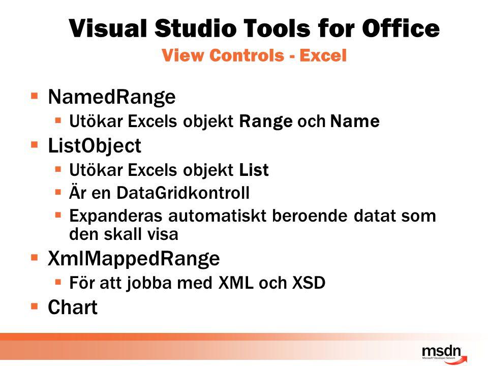 Visual Studio Tools for Office View Controls - Excel  NamedRange  Utökar Excels objekt Range och Name  ListObject  Utökar Excels objekt List  Är en DataGridkontroll  Expanderas automatiskt beroende datat som den skall visa  XmlMappedRange  För att jobba med XML och XSD  Chart