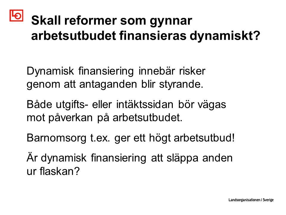 Skall reformer som gynnar arbetsutbudet finansieras dynamiskt.