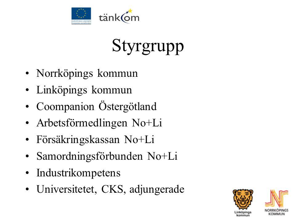 Styrgrupp Norrköpings kommun Linköpings kommun Coompanion Östergötland Arbetsförmedlingen No+Li Försäkringskassan No+Li Samordningsförbunden No+Li Ind