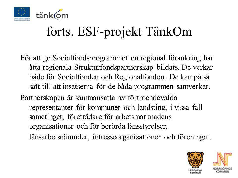 forts. ESF-projekt TänkOm För att ge Socialfondsprogrammet en regional förankring har åtta regionala Strukturfondspartnerskap bildats. De verkar både